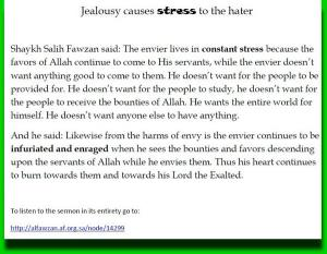 Jealousy causes stress to the hater